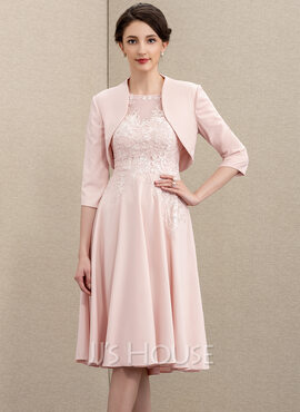 A-Line Scoop Neck Knee-Length Lace Stretch Crepe Mother of the Bride Dress (008195380)