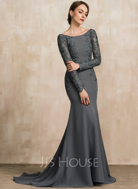 Trumpet/Mermaid Off-the-Shoulder Sweep Train Chiffon Lace Mother of the Bride Dress With Beading Sequins (008204894)