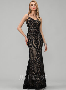 Trumpet/Mermaid V-neck Floor-Length Sequined Prom Dresses (018225969)