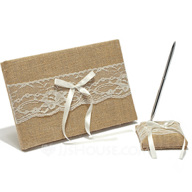 Splendor Ribbons/Bow/Lace Guestbook & Pen Set (101052727)