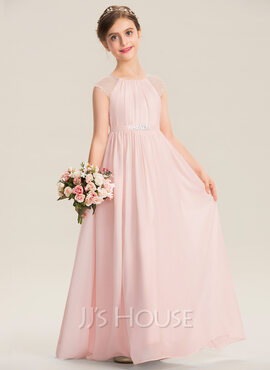 A-Line Scoop Neck Floor-Length Chiffon Junior Bridesmaid Dress With Beading Sequins (009173303)