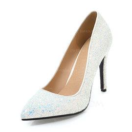 Kvinnor Glittrande Glitter Stilettklack Pumps Stängt Toe med Paljetter skor