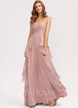 A-Line V-neck Floor-Length Chiffon Bridesmaid Dress With Ruffle Cascading Ruffles (007221216)