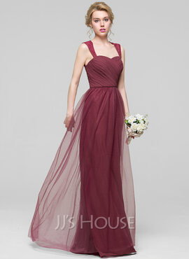 A-Line Sweetheart Floor-Length Chiffon Tulle Bridesmaid Dress With Ruffle
