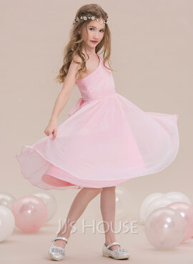 A-Line/Princess One-Shoulder Knee-Length Chiffon Junior Bridesmaid Dress With Ruffle (009119608)