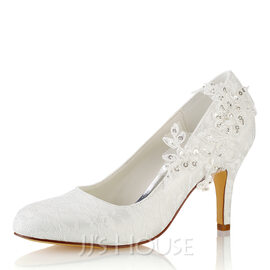 Women's Lace Silk Like Satin Stiletto Heel Closed Toe Pumps With Stitching Lace (047187708)