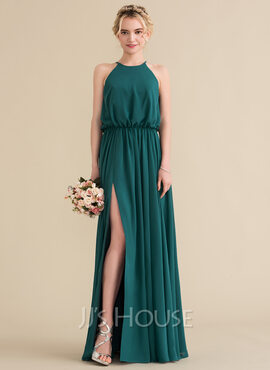 A-Line Scoop Neck Floor-Length Chiffon Bridesmaid Dress With Ruffle Split Front (007144750)