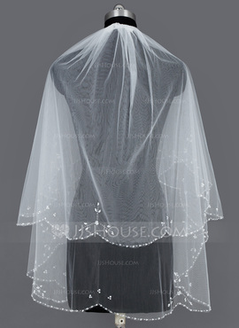 Two-tier Beaded Edge Elbow Bridal Veils With Beading/Sequin (006034184)
