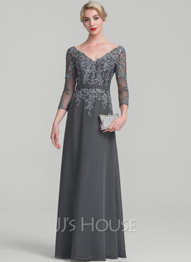 A-Line/Princess V-neck Floor-Length Chiffon Lace Mother of the Bride Dress With Beading Sequins (008114238)