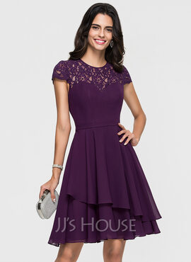 A-Line Scoop Neck Knee-Length Chiffon Homecoming Dress With Lace Cascading Ruffles (022164864)