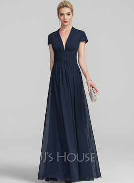 A-Line V-neck Floor-Length Chiffon Evening Dress With Ruffle (017126289)