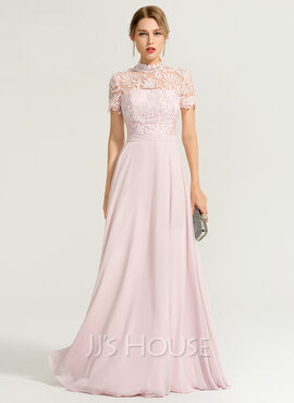 A-Line High Neck Floor-Length Chiffon Prom Dresses (018186892)