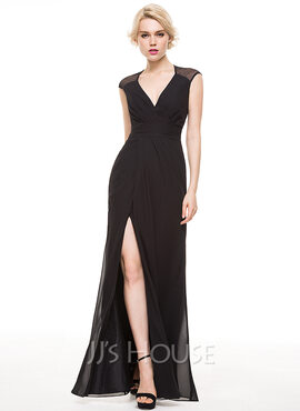 Sheath/Column V-neck Floor-Length Chiffon Evening Dress With Ruffle Split Front (017086912)