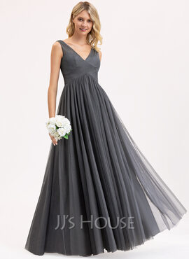 Empire V-neck Floor-Length Tulle Lace Bridesmaid Dress With Ruffle (007206470)
