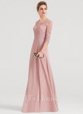 Sheath/Column V-neck Floor-Length Chiffon Evening Dress (017147975)