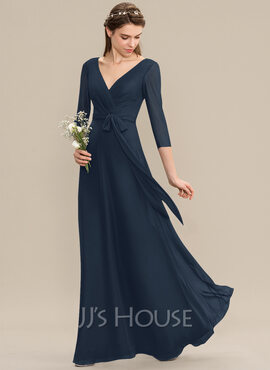A-Line V-neck Floor-Length Chiffon Bridesmaid Dress With Ruffle Bow(s) (007176767)