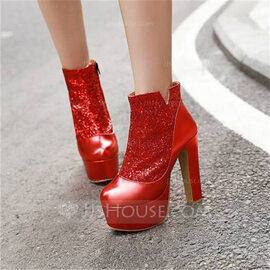 Women's Leatherette Chunky Heel Ankle Boots With Sequin Sparkling Glitter shoes (088218042)