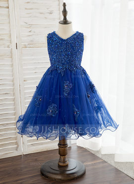 A-Line Knee-length Flower Girl Dress - Tulle/Lace Sleeveless V-neck With Beading/Flower(s)/Sequins (010172344)
