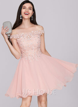 A-Line/Princess Off-the-Shoulder Short/Mini Chiffon Cocktail Dress With Beading Sequins (016133080)