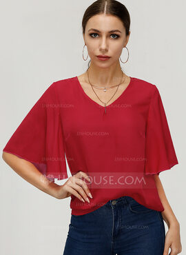 1/2 manches Polyester Col V Blouses (1003223527)