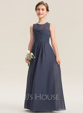 A-Line Scoop Neck Floor-Length Chiffon Junior Bridesmaid Dress With Ruffle (009173284)