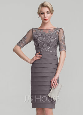 Sheath/Column Scoop Neck Knee-Length Chiffon Sequined Mother of the Bride Dress (008114222)