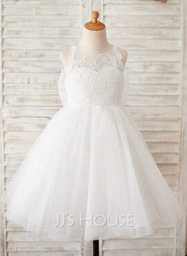 A-Line Knee-length Flower Girl Dress - Tulle/Lace Sleeveless Scoop Neck (010211703)