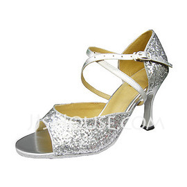 Women's Sparkling Glitter Heels Sandals Latin With Ankle Strap Dance Shoes (053013043)