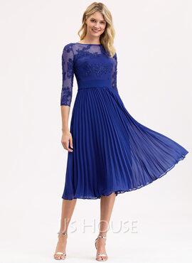 A-Line Scoop Neck Tea-Length Chiffon Lace Bridesmaid Dress With Bow(s) (007206469)