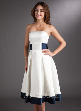A-Line Strapless Knee-Length Satin Wedding Dress With Sash Bow(s) (002000067)