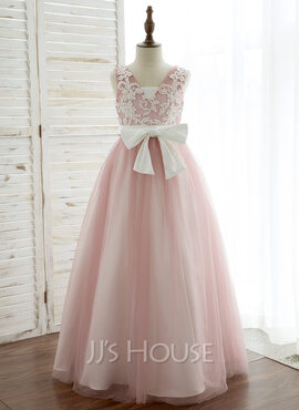 A-Line/Princess Floor-length Flower Girl Dress - Satin/Tulle/Lace Sleeveless V-neck With V Back (010164745)