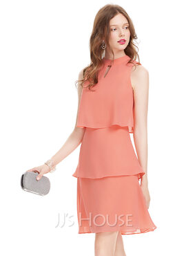 A-Line Scoop Neck Knee-Length Chiffon Homecoming Dress (022127939)