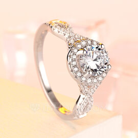 925 Sterling Silver With Round Cubic Zirconia Rings/Engagement Rings/Promise Rings/Stackable Rings For Bride (011224442)