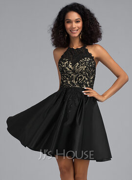 A-Line Scoop Neck Short/Mini Satin Homecoming Dress With Sequins Pockets (022203119)