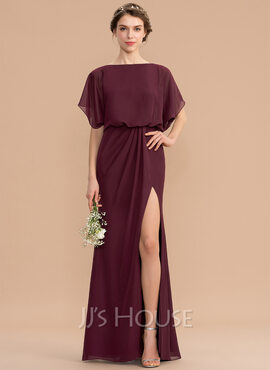 Sheath/Column Scoop Neck Floor-Length Chiffon Bridesmaid Dress With Ruffle Split Front (266203989)