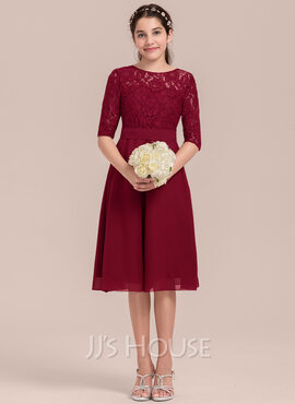 A-Line Scoop Neck Knee-Length Chiffon Junior Bridesmaid Dress (009130656)