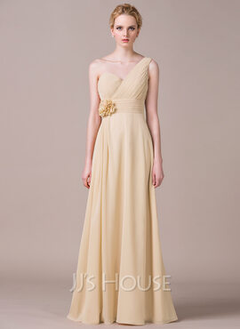 A-Line/Princess One-Shoulder Floor-Length Chiffon Bridesmaid Dress With Ruffle Flower(s) (266183699)