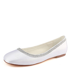 Women's Silk Like Satin Flat Heel Flats (047190300)