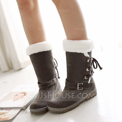 Women's Leatherette Low Heel Closed Toe Boots Mid-Calf Boots With Buckle Lace-up shoes