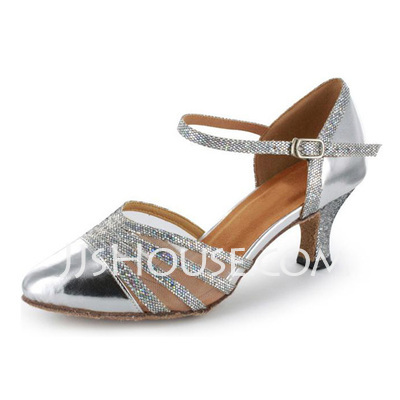 Women's Sparkling Glitter Patent Leather Heels Pumps Modern With Ankle Strap Dance Shoes
