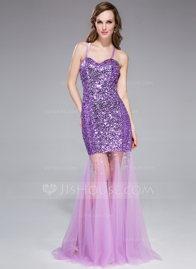 Trumpet/Mermaid Halter Sweep Train Tulle Sequined Prom Dress With Beading