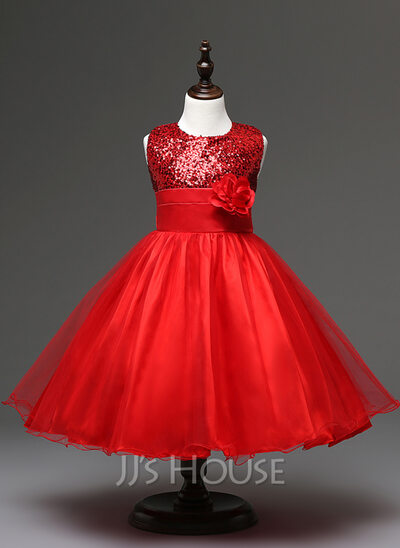 Empire Knee-length Flower Girl Dress - Tulle Sequined Cotton Blends Sleeveless Jewel