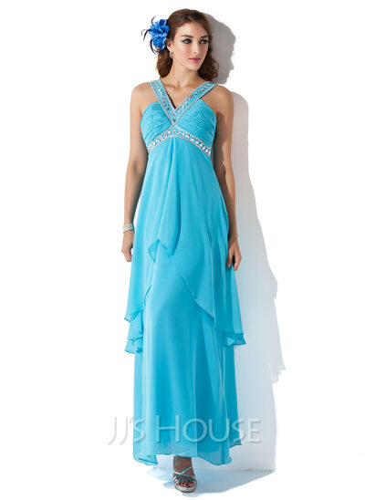 A-Line/Princess V-neck Ankle-Length Chiffon Holiday Dress With Beading Cascading Ruffles
