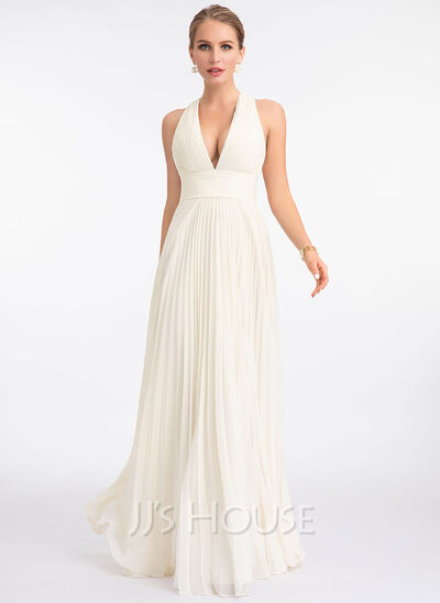 A-Line V-neck Floor-Length Chiffon Wedding Dress With Pleated