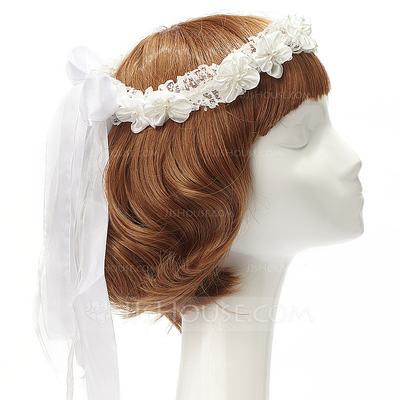 Pretty Lace/Satin Headbands With Venetian Pearl