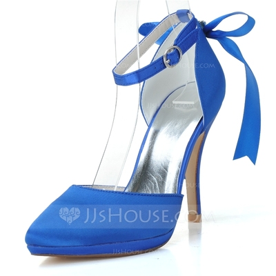 Women's Satin Stiletto Heel Closed Toe Pumps With Bowknot Buckle