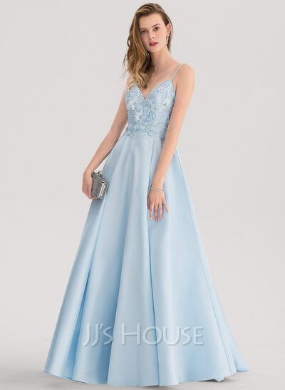 A-Line V-neck Sweep Train Satin Prom Dresses With Lace Beading