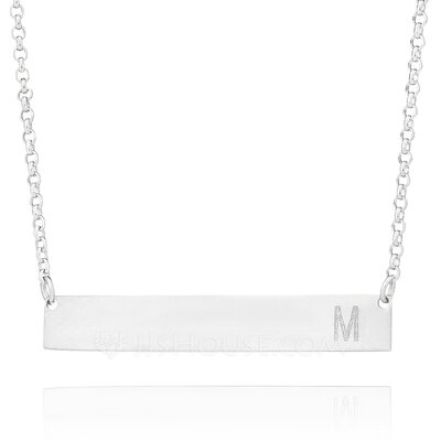 Christmas Gifts For Her - Custom Sterling Silver Name Engraving/Engraved Initial Necklace Bar Necklace