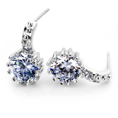 Beautiful Zircon/Platinum Plated Ladies' Earrings