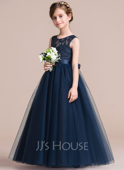 A-Line Floor-length Flower Girl Dress - Satin/Tulle/Lace Sleeveless Scoop Neck With Sash